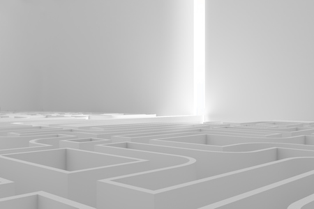 White wall maze with a ray of light in the end. Concept of choice and challenge in business and life. 3d rendering mock up