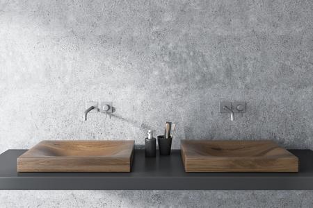 Primo piano di un doppio lavandino in legno in piedi su una mensola grigia in un interno del bagno muro di cemento. Rendering 3D mock up Archivio Fotografico