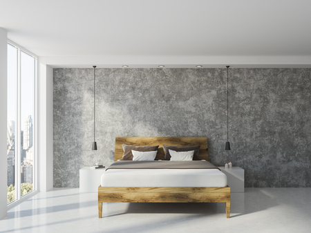 Master bedroom interior with concrete walls, a white floor and a double bed near a large window. 3d rendering mock up