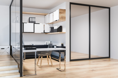 White wall home office or small business owner work space in a neat Scandinavian style room with a wooden floor and a computer desk. Shelves with folders. 3d rendering mock up Stock Photo