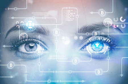 Face of a young attractive woman with HUD and bitcoin netwok hologram on it. Concept of hi tech and cryptocurrency mining. Toned image double exposure mock up Stock Photo