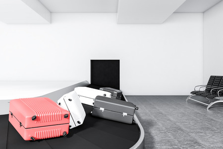 Gray, white and pink suitcases on airport conveyor belt in a white wall room with white walls and a concrete floor. 3d rendering mock up