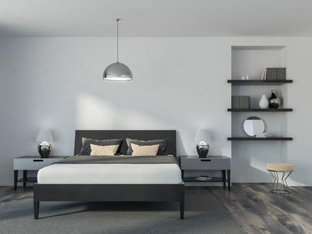 Interior de un dormitorio moderno con paredes blancas, piso de madera, una cama doble y una estantería. Vista frontal. Maqueta de renderizado 3d