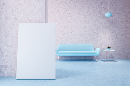 Merveilleux Pastel Blue Sofa Standing In An Empty Pink Room With A Stylish Ceiling  Lamp. A