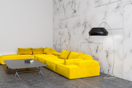 Modern living room interior with white marble walls, a concrete floor and a yellow sofa near a coffe table. 3d rendering mock up