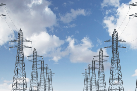 Row of high voltage steel power line supports over a blue sky with many clouds. 3d rendering mock up