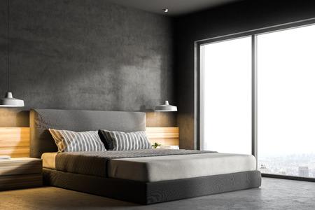 Esquina de un dormitorio moderno con paredes grises, piso de concreto, una cama doble y dos mesitas de noche con lámparas. Ventana tipo loft con escenografía. Maqueta de renderizado 3d Foto de archivo