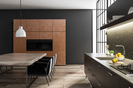 Black and concrete wall kitchen and dining room interior with a wooden floor, brown closets with built in appliances, black countertops and a wooden table with chairs. 3d rendering side view Stock Photo