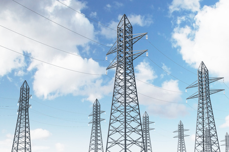 Row of high voltage steel power line supports over a blue sky with many clouds. Side view. 3d rendering mock up