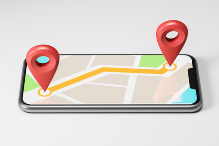 Schematic bright map with two large red pointers showing the route and destination point on a smartphone screen. Concept of navigation, finding your goal and GPS tracking. 3d rendering mock up
