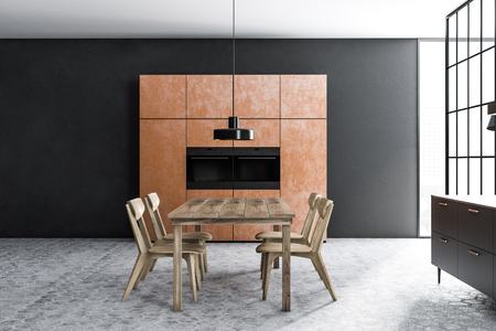 Black wall dining room interior with a tiled floor, brown closets with built in appliances, black countertops and a wooden table with chairs. 3d rendering side view