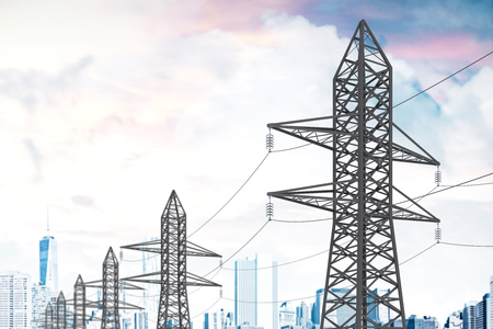 Row of high voltage steel power line supports over a cloudy sky. Modern cityscape background. 3d rendering mock up Banque d'images - 106807509