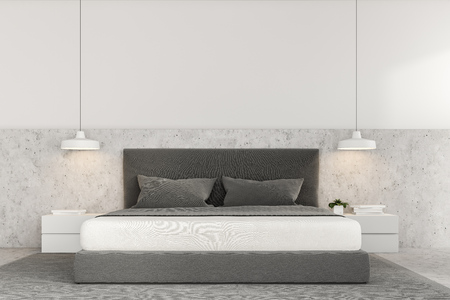 Front view of a luxury bedroom with white walls, a concrete floor with a carpet, loft windows and a master bed with bedside tables. 3d rendering mock up Stockfoto