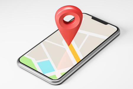 Schematic bright map with a large red pointer in the centre showing the route and destination point on the smartphone screen. Concept of navigation, finding your goal and GPS. 3d rendering mock up