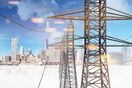 Many high voltage steel power line supports over a blue sky with clouds. 3d rendering, mock up toned image. City and its reflection.