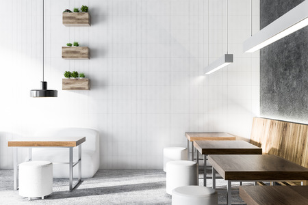 Coffee shop interior with gray and white walls, wooden tables with white round chairs and original ceiling lamps. 3d rendering mock up Stock Photo