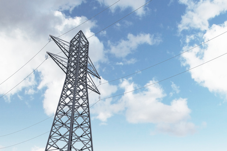 Single high voltage steel power line support over a blue sky with many clouds. Low angle. 3d rendering, mock up Banque d'images - 106620550