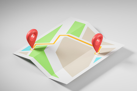 Schematic bright map with two large red pointers showing the route and destination point Concept of navigation, finding your goal and GPS tracking. 3d rendering mock up