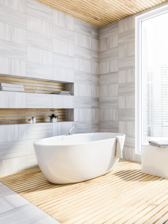 Bathroom corner with white wooden walls and floor, and a bathtub standing near a large window. 3d rendering.