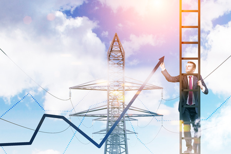 Businessman standing on a ladder drawing a growing graph in the sky. Power line supports background. 3d rendering mock up toned image Banque d'images - 107014695