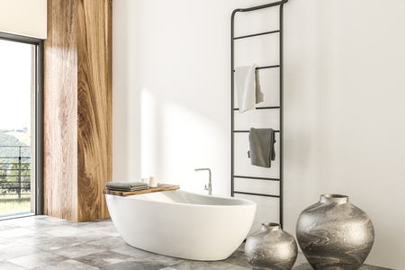 White and wood wall bathroom interior with tiled floor, panoramic window, white bathtub, and vases. 3d rendering mock up