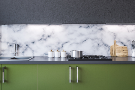 Modern marble wall kitchen interior with green countertops with built in appliances. Close up. 3d rendering mock up Reklamní fotografie