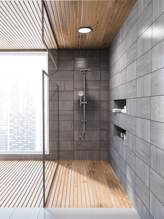 Modern gray wooden tiled wall bathroom interior with gray floor, and a glass wall shower stall with niches in the wall. Front view. Scandi style. 3d rendering mock up