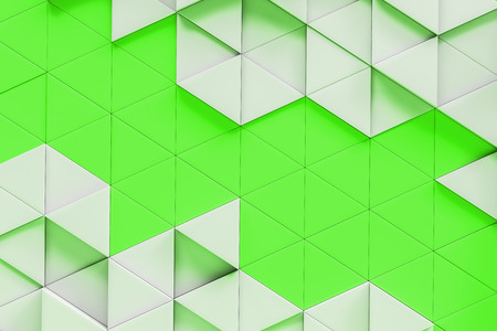 Abstract triangular tiles background. White and green tiles. Concept of design and marketing. 3d rendering mock up