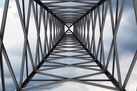 Huge power line support as seen from the ground. Gray sky with clouds. Concept of growth and challenge in business and life. 3d rendering mock up Banque d'images - 107257283