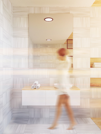 Woman near a bathroom sink with a vertical mirror hanging on a white wooden wall. Concept of interior design. 3d rendering toned image blurred Archivio Fotografico - 107257292