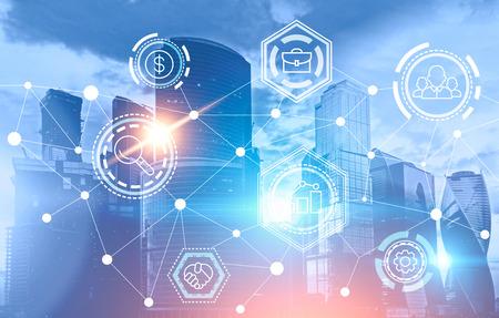 Icônes de réseau d'entreprise sur fond de paysage urbain bleu. Interface immersive et réseau mondial. Maquette de double exposition d'image tonique Banque d'images - 107257555