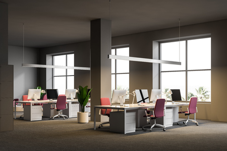 Open plan office corner with gray walls, a carpet on the floor, white computer tables with pink chairs and windows with a tropical view. 3d rendering mock up Stock Photo