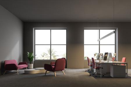 Open plan office corner with gray walls, a carpet on the floor, white computer tables with pink chairs and big windows. Sofa and armchairs waiting area. Side view. 3d rendering mock up