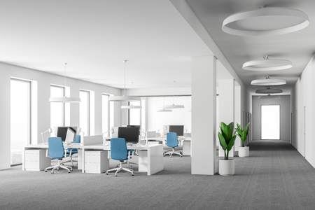 Open space office interior with white walls, carpet on the floor, loft windows and rows of computer tables with blue chairs near them. 3d rendering mock up