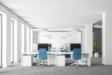 Open space office interior with white walls, carpet on the floor, loft windows and rows of computer tables with blue chairs. Close up 3d rendering mock up Reklamní fotografie