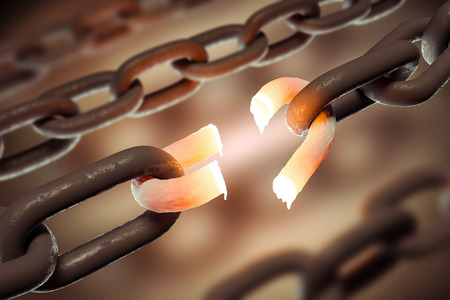 Broken hot chain link over blurred chains background. Concept of a weak link, slavery and freedom in business and life in general. 3d rendering copy space