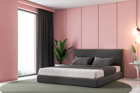 Corner Of Luxury Loft Bedroom With Pink Panel Walls A White Marble Floor