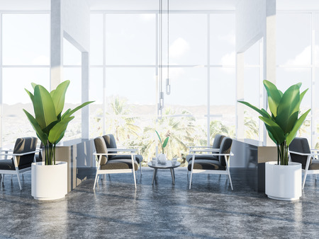 Comfortable restaurant interior with white walls, panoramic windows with a tropical view, concrete floor, coffee tables and soft gray armchairs. Plants in pots. 3d rendering