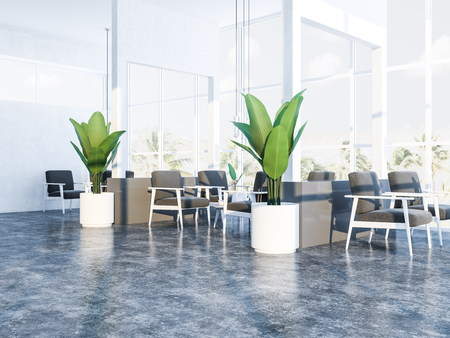 Comfortable restaurant with white walls, panoramic windows with a tropical view, concrete floor, coffee tables and soft gray armchairs. Plants in pots. 3d rendering