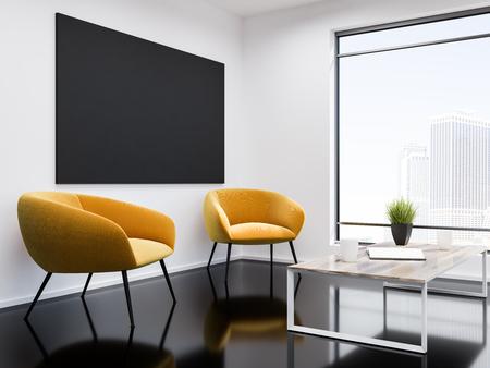 Intérieur de la salle d'attente du bureau mural blanc avec un sol en verre noir, deux fauteuils jaunes et une table basse. Fenêtre loft avec paysage urbain moderne et un téléviseur. Rendu 3d maquette Banque d'images