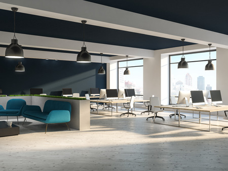 Open space office interior with white walls, black and white ceiling, loft windows and rows of computer tables with white chairs near them. Gray sofa corner 3d rendering mock up