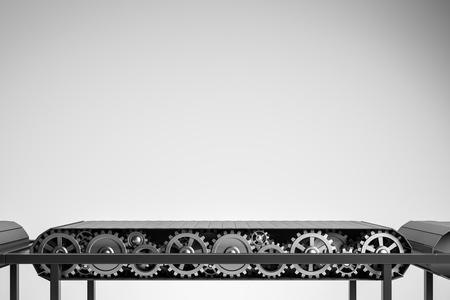 Leeres Förderband über grauem Hintergrund. Konzept der Massenproduktion, Lieferung und des Konsums. 3D-Rendering-Kopierraum