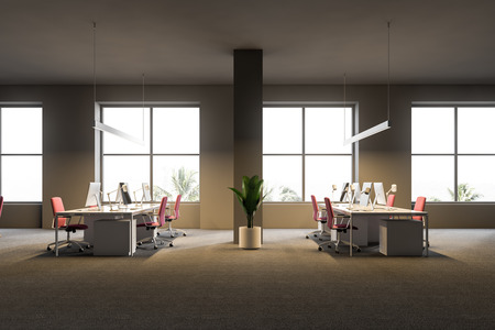 Open plan office interior with gray walls, a carpet on the floor, white computer tables with pink chairs and windows with a tropical view. Side view. 3d rendering.