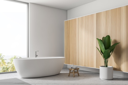 Stylish white bathroom fragment with concrete floor, gray rug, window with tropical view, wooden wall, big bathtub, and a potted plant. 3d rendering copy space Banco de Imagens