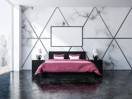 Triangular pattern marble and grey bedroom interior with a gray floor, panoramic windows, a double bed with two bedside tables with cute lamps on them. 3d rendering horizontal mock up poster frame