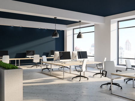 Open space office interior with white walls, black and white ceiling, loft windows and rows of computer tables with white chairs near them. Flower beds 3d rendering mock up