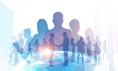 Silhouettes of diverse business team members standing together. Cityscape, communication and earth. Global world trade concept. Toned image double exposure Elements of this image furnished by NASA