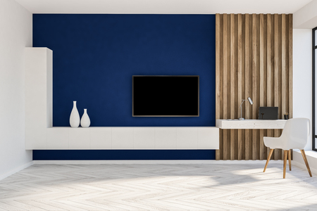 Stylish home office in blue and wooden wall living room with a compact computer table, white chair and a black tv set on the wall. 3d rendering copy space