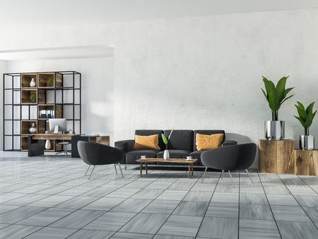 Oficina en casa de lujo u oficina de gerente con paredes blancas, piso de baldosas de madera blanca, una mesa de computadora, una estantería, un sofá con un sillón y una mesa de café. Plantas en macetas de plata. Espacio de copia de renderizado 3D
