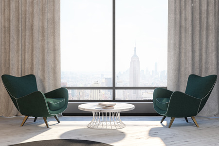 Modern living room interior with two green armchairs near a round coffee table under a cityscape window. 3d rendering